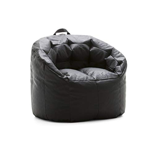 Big Joe Lux 0605396 Siena, Montana Leather Black Bean Bag, Black, Black