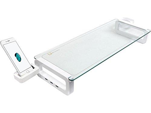 Sunnone UBOARD SMART 3.0 - Tempered Glass Monitor Stand Shelf (Built-in 3 x USB 3.0 Hub) - White