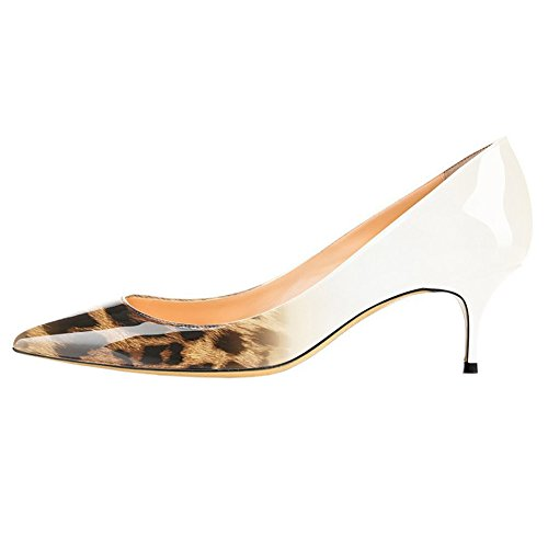 Pointed White Party on Dancing Fashion Heels Middle MERUMOTE for Shoes Toe Pumps Women's Slip Wedding Leopard F6788q