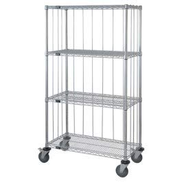- Quantum Storage Systems M2436CG47RE 4-Tier Wire Shelving Mobile Cart with 3-Sided Enclosure Using Rod and Tab, Stem Caster, 3 Wire and 1 Solid Shelf, Chrome Finish, 80
