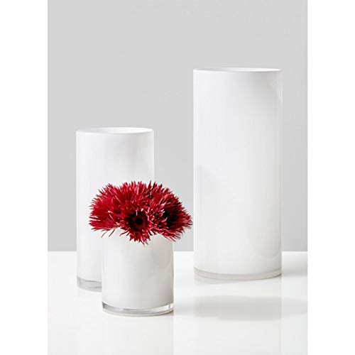"Serene Spaces Living White Glass Cylinder Vase - Smart Modern White Design, Décor Accent, 12"" Tall by 6"" Diameter"