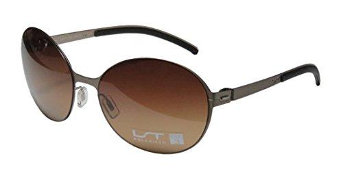 Lightec 7266l Womens/Ladies Round Full-rim Sunglasses/Shades (58-17-135, Light Brown / - Faces Asian Fit Sunglasses That