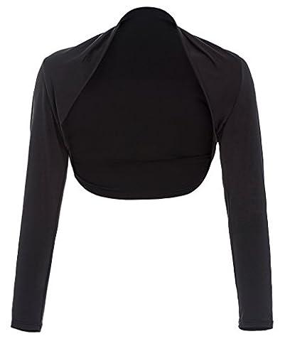 Stretchty Open Front Bolero Shrug Cardigan for Women Black, XL - Cocktail Dress Jacket