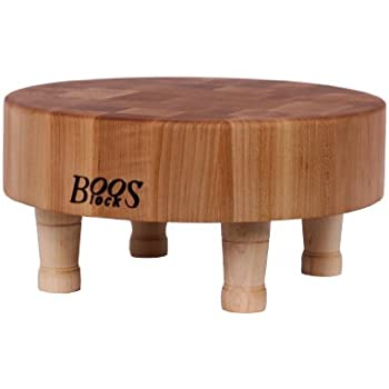John Boos Round Maple Wood End Grain Chopping Block with Feet, 12 Inches Round x 3 Inches