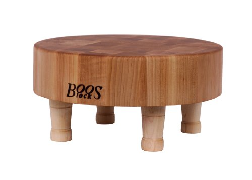 John Boos Round Maple Wood End Grain Chopping Block with Feet, 12 Inches Round x 3 Inches (Block Round)