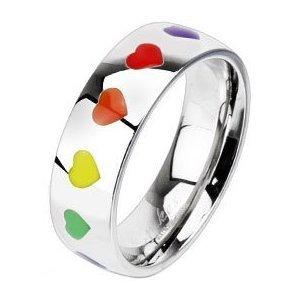 Arco iris del corazón del acero quirúrgico anillo talla Z o 13