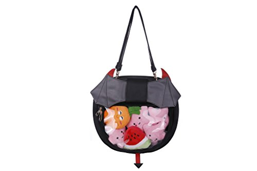 Clear Candy Leather Handbag Kawaii Purse Transparent Backpacks For Girls Devil Bat Wings Crossbody Bags Lolita