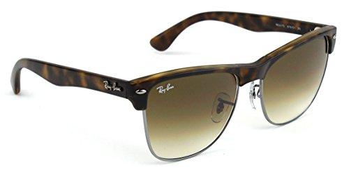 Ray-Ban RB4175 Clubmaster Oversized Flash Lens Unisex Sunglasses (Shiny Havana Frame / Brown Gradient Lens 878/51, 57)