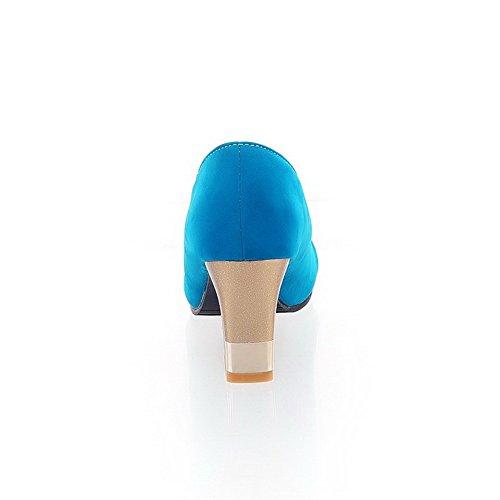 AllhqFashion Mujetes Sólido Sin cordones Peep Tacón ancho Sandalia de Tacón con Metal Azul