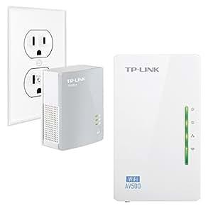 TP Link AV500 Wi Fi Range Extender, Powerline Edition Starter Kit w/ 2 LAN Ports, Up to 300Mbps Wireless