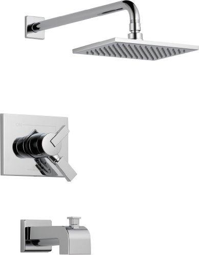 Delta Faucet Vero 17 Series Dual-Function Tub and Shower Trim Kit with Single-Spray Touch-Clean Rain Shower Head, Chrome T17453 (Valve Not Included)