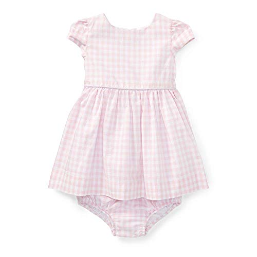 RALPH LAUREN Baby Girls Gingham Cotton Dress & Bloomer, Color: Pink/White (12 Monts)