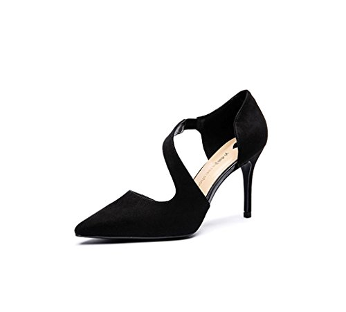 Dream Spring New Elegant High Heels Female Summer Pointed High Heels Wedding Shoes (Color : Black, Size : 37)
