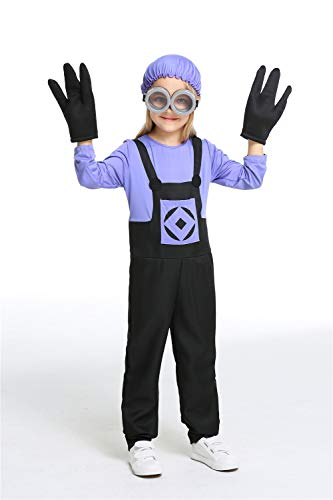 Children's Evil Minions Purple Costume Halloween Chirstmas Cosplay Game Anime Suit,S ()