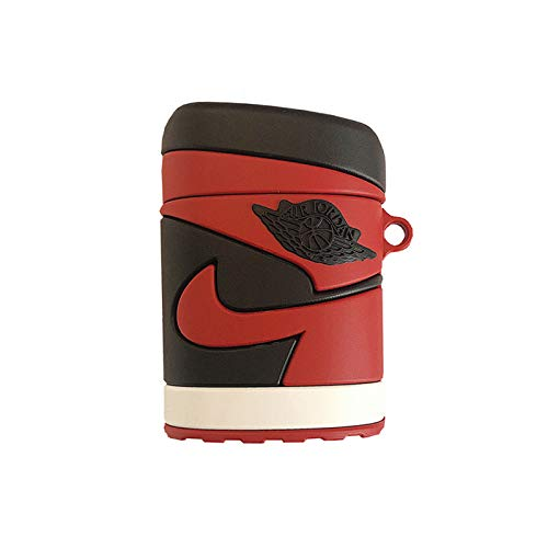Ultra Thick Soft Silicone Black and Red Sports Basketball Case for Apple Airpods 1 2 with Bag Hook Protective Mini Bag Protector Shockproof Boys Men Boyfriend Husband Guys (Off White Air Jordan 1 For Sale)