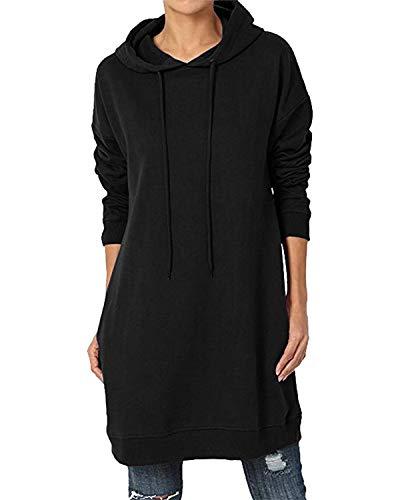 KIDSFORM Women's Long Hoodies Pullover Sweatshirt Ladies Long Sleeve Plain Hooded Jumper Dresses Loose Casual Long Tops