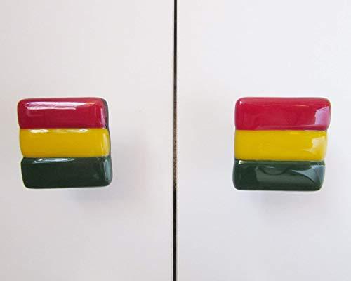 (Rasta Reggae Square Fused Glass Drawer Knobs (set of)