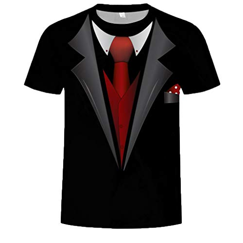 Allywit Hot Popular!Men's Funny Faux Tuxedo Suit Muscle 3D Print Short Sleeve T-Shirt Top Blouse Tee Black by Allywit-Mens (Image #8)