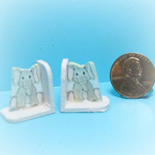 - Dollhouse Baby Elephant Bookend Set KL1631 - Miniature Scene Supplies Your Fairy Garden - Doll House - Outdoor House Decor
