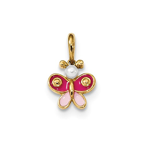 (14k Yellow Gold Kids Freshwater Cultured Pearl Enameled Butterfly Pendant Charm Necklace Kid Fine Jewelry Gifts For Women For Her)