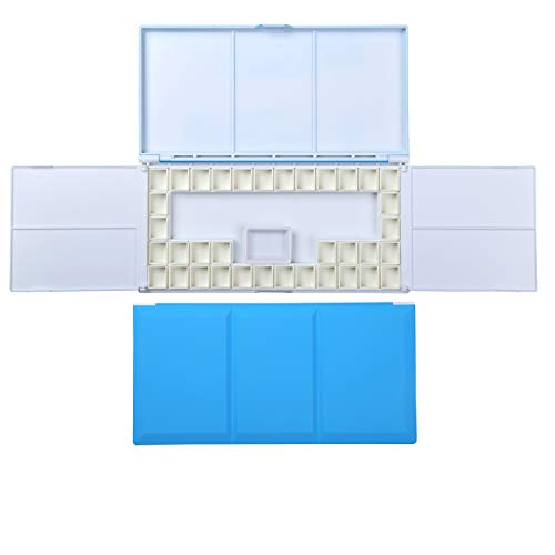 ATWORTH Travel Watercolor Case with Foldable Paint Palette, Porcelain Water Dish and 36 Removable Half Pans, Blue Color - Artists Magnet Palette
