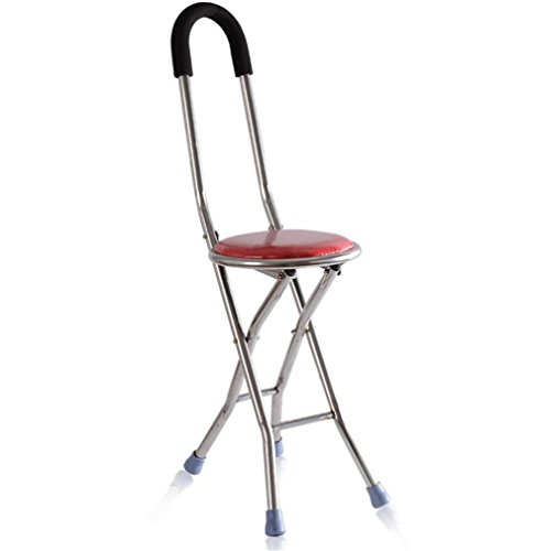 Canes Adjustable Walking Crutches Cane Seat Disability Medical Aid Folding Seat Cane Lightweight Walking Stick Chair Seat Red by Canes