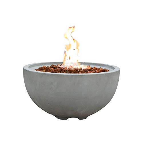 Modeno Outdoor Natural Gas Fire Pit Table Grey Durable Round Fire Bowl Glass Fiber Reinforced Concrete Natural Gas Patio Fire Place 27 Inches Electronic Ignition Cover and Lava Rock -