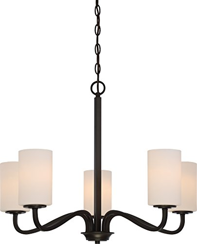 Nuvo Lighting 60/5905 Willow 5 Light 100W A19 max. Medium Base Chandelier with White Glass, Aged Bronze (Transitional Aged Bronze Chandelier)