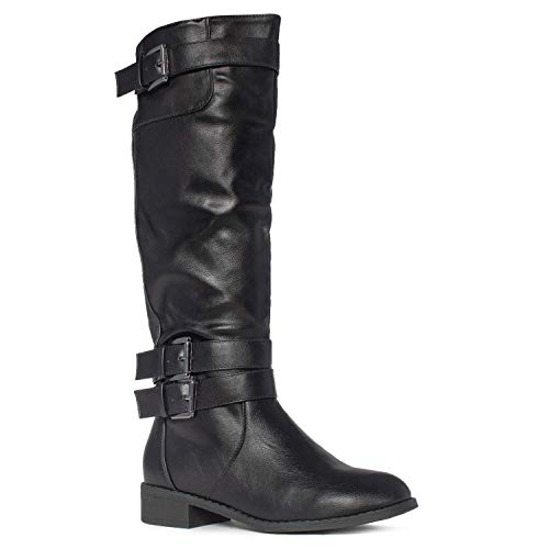 RF ROOM OF FASHION Lady's Buckle Knee High Riding Boots with