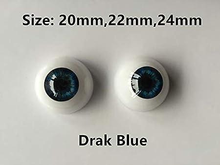 22 mm Binxing Toys Accesorios de Ojos de acr/ílico realistas semicirculares para mu/ñecas BJD-OOAK-Reborn Baby Dolls-Halloween Props-Masks o Bear Toys