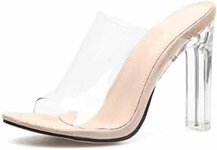 7f3211432b759 ZerenQ Chunky Sandals for Women Round Toe Slide in Slipper Transparent PVC  Upper Clogs Backless Heeled