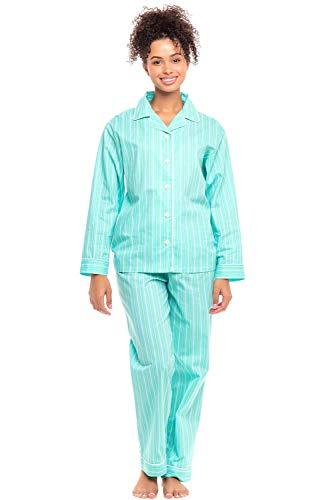 Sleeves Cotton Pajamas - Alexander Del Rossa Women's Lightweight Button Down Pajama Set, Long Cotton Pjs, Large Mint Striped (A0517V07LG)