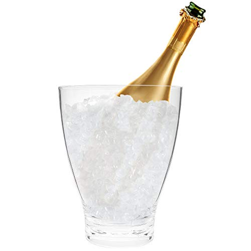 Round Shape Tall Acrylic Ice Bucket | Great Ice Holder Container for Parties, Home, Bar | Compact Beverage Champagne Cooler | Wine Chiller | 3.6 Quart Capacity
