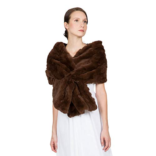 OBURLA™ Women's Genuine Rex Rabbit Fur Shawl with Slit | Soft and Luxurious Real Fur Wrap | Evening and Bridal Cape Stole (Brown)