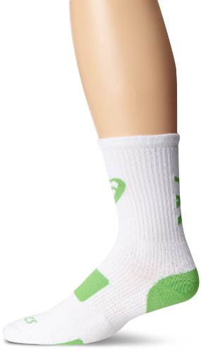 ASICS Team Tiger Crew Socks, White/Neon Green, Medium