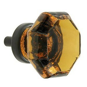 Kitchen Cabinet Pulls, Glass Knobs and Drawer Handles for Dresser 2-Pack T28MN Amber Crystal Glass Octagon Style Knobs with Oil Rubbed Bronze Hardware. Romantic Decor & More
