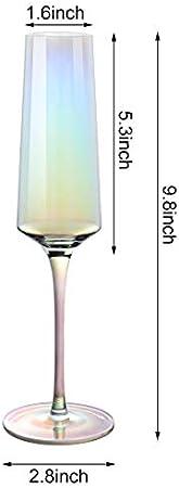 YOLIFE Juego de 2 copas de champán modernas de cristal perlado, 6 onzas