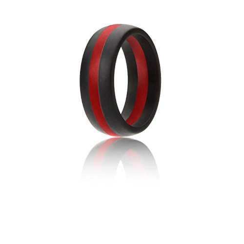 Silicone Wedding Ring For Men By ROQ, Silicone Rubber Band - Black With Red Stripe, Size (Red Wedding Ring)