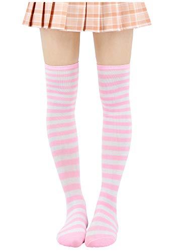 Pink Striped Tights (DAZCOS Striped Stockings Over Knee Thigh High Socks Anime Preppy Socks Multi color)