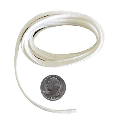 Firefly Brand - 5 Feet of 2.6mm Round Braided Eco Cotton Replacement Wick for Oil Lamps and Candles. Made in USA