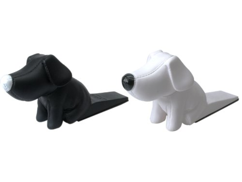 Present Time Silly Doggy Door Stoppers, Assorted White and Black