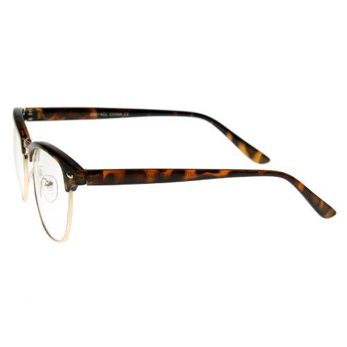 Vintage Inspired Classic Half Frame Nerd Wayfarers UV400 Clear Lens Glasses