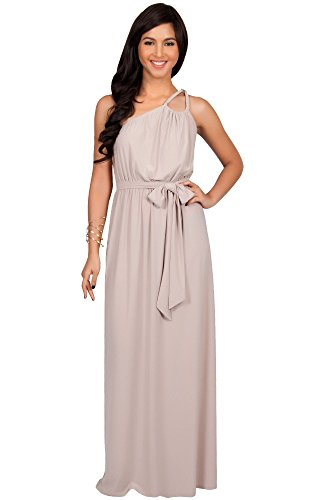 KOH KOH Plus Size Womens Long Bridesmaids One Shoulder Ball Gown Elegant Cocktail Party Mother of the Groom Evening Summer Dresses Maxi Dress, Color Light Brown, Size 2X Large XXL (Plus Size Greek Goddess Costume)