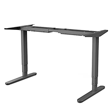 FLEXISPOT 55 W Electric Height Adjustable Standing Desk Frame Heavy Duty Steel Stand Up Desk w Automatic Smart Keypad Without Table top, Gray Frame