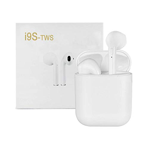 Bluetooth Headphones, Wireless Earbuds Headphone Noise Canceling Sweatproof Sports in-Ear Earbuds with Mic and Portable Charging Case for iOS and Android White