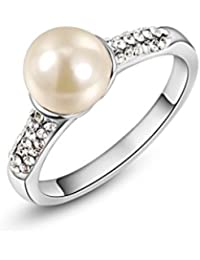 18K Platinum Rose Gold Plated 9mm Freshwater Pearl Ring with Cubic Zirconia for Women