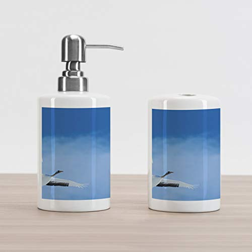 Ambesonne Bird Soap Dispenser and Toothbrush Holder Set, 2 Red Crowned Crane with Open Wings Flying in Clear Sky Japanese Animal Duo, Ceramic Bathroom Accessories, 4.5