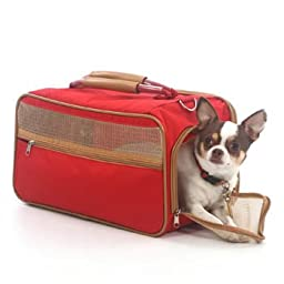 Bark-n-Bag Nylon Classic Carrier Collection Pet Carrier, Medium, Red/Tan
