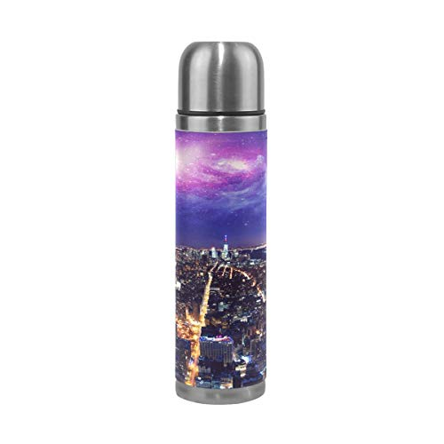 (Water Bottle Light of The City Sports Insulated Stainless Steel Water Bottles Leak Proof Double Wall Thermos Leather Cover 17 Oz 500ml)