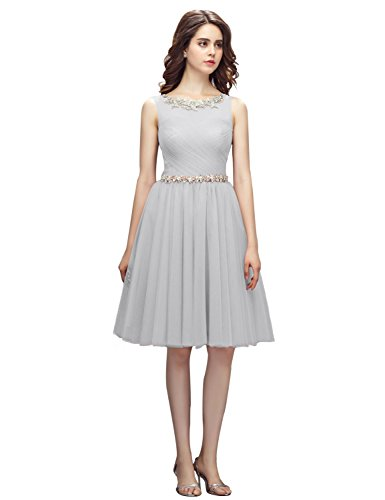 2018 Prom Dress Plus Size Party Gown For Women Homecoming Dress For Graduation Pleated Knee Length Costume Empire Waist Sash YM118 Light Gray Size 26W ()